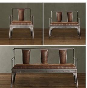 美式乡村复古铁艺水管做旧休闲卡座沙发桌椅 咖啡厅酒吧桌椅组合