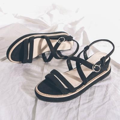 夏季性感中跟交叉带罗马鞋女松糕厚底鞋韩版百搭露趾罗马凉鞋坡跟