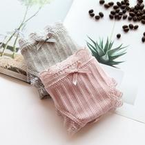 沫风社 舒适罗纹棉女士内裤女纯棉 清新简约纯色 甜美蕾丝三角裤