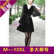 加大码胖MM女装秋季新款显瘦气质金丝绒雪纺拼接中长款长袖连衣裙