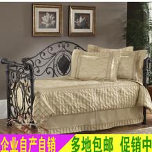 欧式铁艺沙发床 抽拉式坐卧两用 书房沙发床1.2/1.5/1.8米定制
