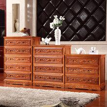 全香樟木中式仿古雕花红木色五斗柜实木花梨储物橱三四五斗柜组合