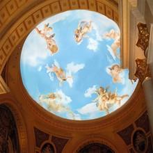 美玉家居欧式油画壁画墙纸圆形灯池顶棚天花板蓝天白云小天使吊顶