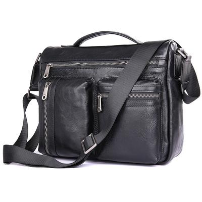新款男式牛皮单肩包头层牛皮斜挎包手提包横款小方包邮差包电脑包