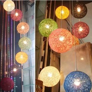 麻球吊灯欧式客厅灯咖啡餐厅单头吧台复古个性艺术吊灯藤麻线球灯双十二