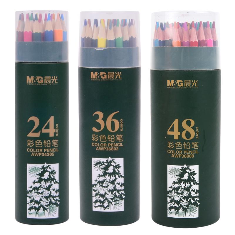晨光文具 彩铅12 18 24 36 48色PP筒装 彩色铅笔 AWP34309系列