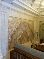 Natural marble TV background wall decoration living room restaurant European stone art decorative wall can be measured