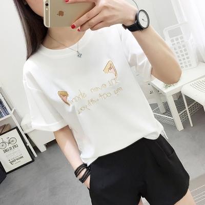 2018夏季新款白色雪纺短袖t恤女宽松韩版百搭学生蝙蝠衫学院风潮