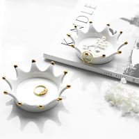 Nordic creative golden crown gold-plated ceramic plate Jewelry storage tray display stand decoration seasoning plate