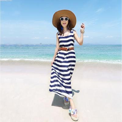 夏季新品大码女装条纹连衣裙波西米亚长裙背心裙海边度假沙滩裙子