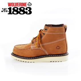 渥弗林wolverine女鞋潮流复古靴女休闲工装靴高帮靴英伦系带皮靴