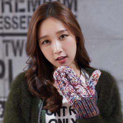 手套女毛线韩版可爱冬季时尚保暖加绒骑行骑车加厚百搭学生连指