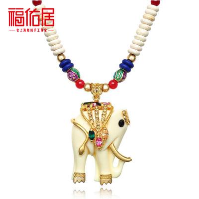 福佑居饰品 泰国长款时尚大象毛衣链 女复古奢华长款项链挂坠
