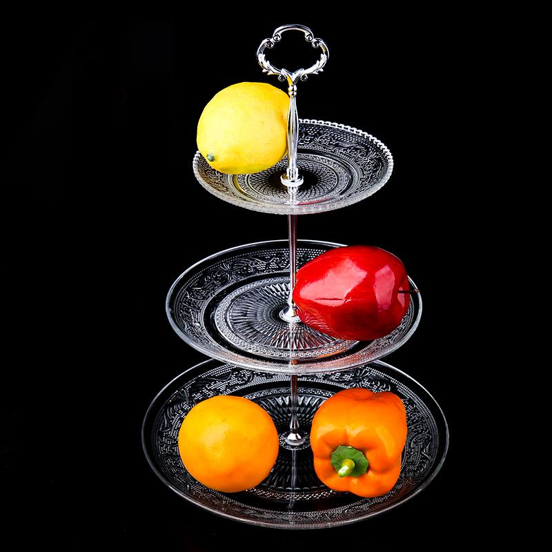 果盘水晶玻璃点心盘客厅三层蛋糕架双层干果盘下午茶点心架甜品台3元优惠券