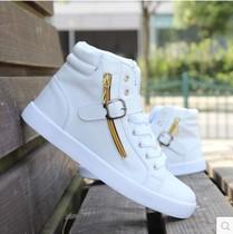 春秋新款男板鞋韩版时尚白色休闲高帮滑板鞋青年男生运动增高男鞋