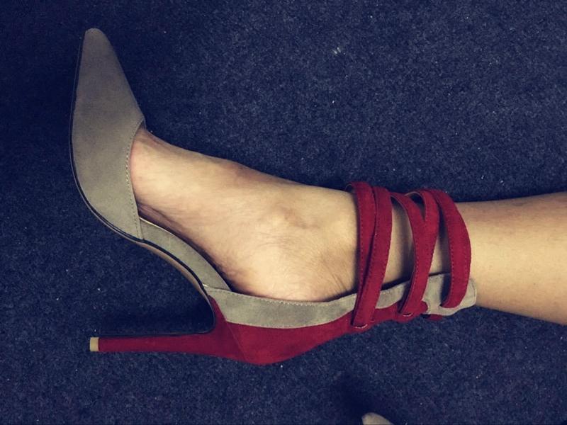 凉鞋夏2018新款拼色女鞋超高跟10厘米尖头走秀鞋多色入黑色/红色