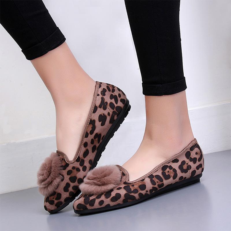 豹纹花朵平底鞋