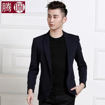 腾佩男休闲西服 韩版修身针织大码西装男潮 商务时尚青年男外套
