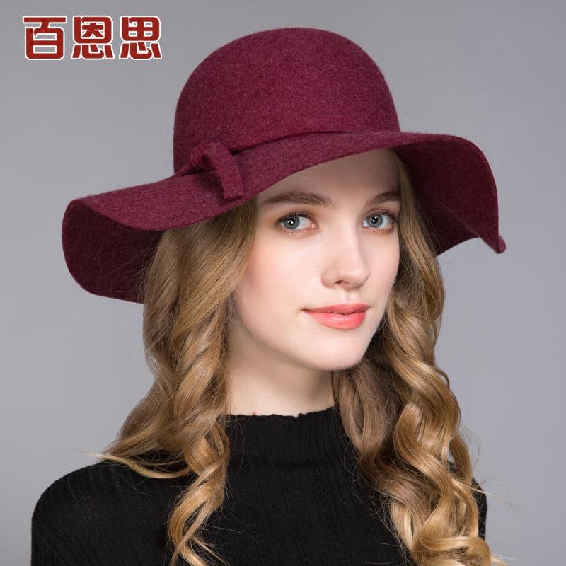 百恩思 欧美大檐礼帽女秋冬季优雅时尚时装羊毛呢帽子圆顶复古款