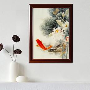 圣蓝诺中式实木框配电箱画推拉电表箱装饰竖款电闸箱画九鱼图壁画