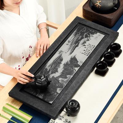 影雕整块乌金石茶盘黑石头小号茶海大茶台家用简约茶具套装可定制