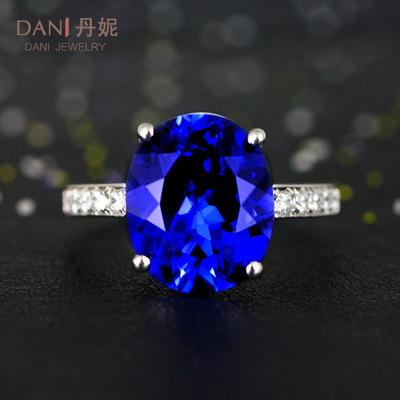 蓝宝石彩宝戒指925银镀18K金镶嵌彩色宝石坦桑色珠宝指环女手饰品