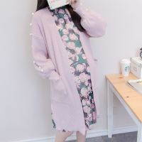Pregnant women spring 2019 pregnant women sweater dress fashion floral long section two-piece suit shirt cardigan coat