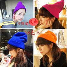 帽子 光板荧光薄款 针织帽子女士糖果色毛线帽街头街舞套头帽秋冬款图片