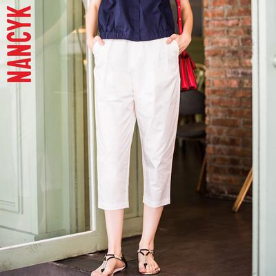 NANCYK2017春夏季新款韩版白色七分裤显瘦裤休闲裤子女