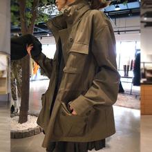 女士风衣秋装韩版新款宽松军绿色中长款休闲立领工装外套大码韩国