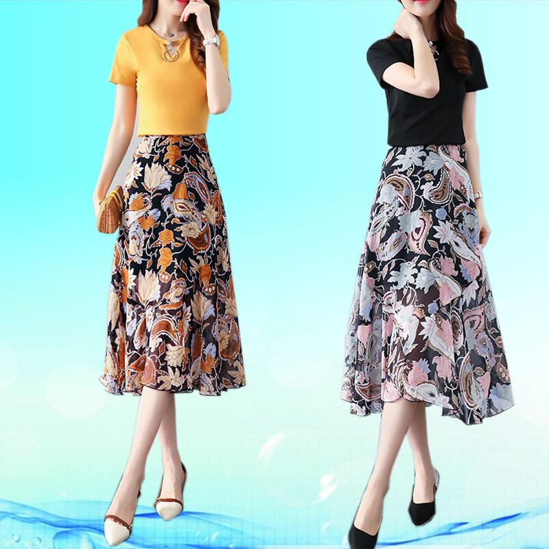 2017欧洲站新款分体裙子套装两件套女时尚气质夏装中长款花连衣裙