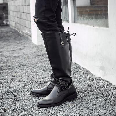 男靴子长筒韩版潮流休闲皮靴潮男靴马靴军靴仪仗队高筒靴冬季新款
