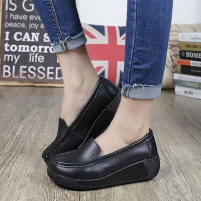 真皮厚底单鞋女鞋休闲黑色工作鞋坡跟妈妈鞋摇摇鞋松糕鞋秋冬季