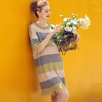 婕西孕妇装秋装中长款宽松条纹连衣裙五分袖套头针织裙D4760