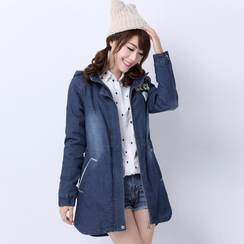 布依丛林2014冬季长款修身外套拉链长袖中长款连帽韩版字母女风衣