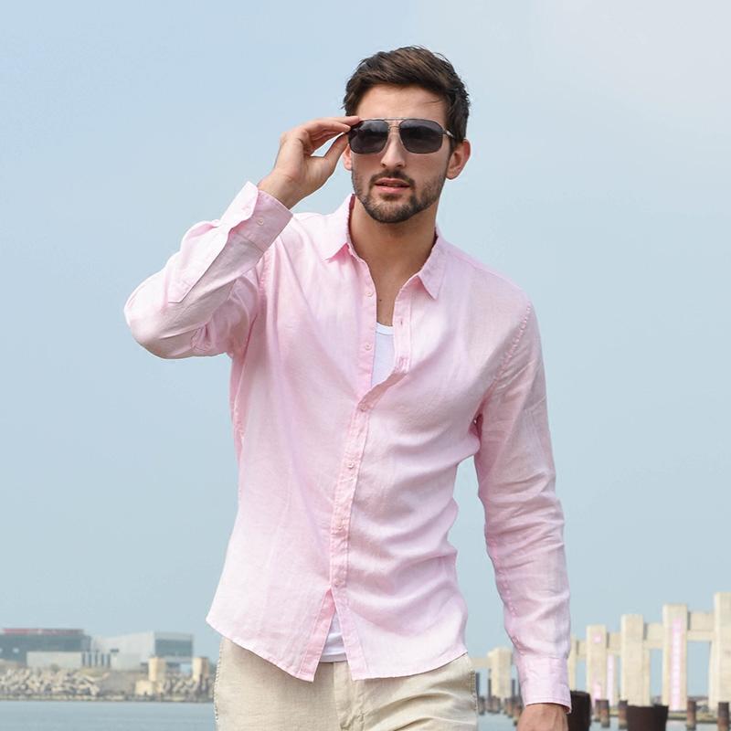 汉絮春季男士休闲亚麻白衬衫男青年大码修身上衣长袖打底棉麻衬衣