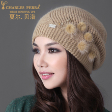 Shalbello Hat Female Winter Warm Knitted Wool Cap Middle-aged Korean Chao Thickened Ear Protector Rabbit Wool Cap