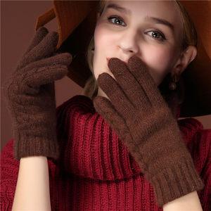 牧马仕手套针织女士秋冬季手套保暖分指手套羊毛纯色学生可爱手套