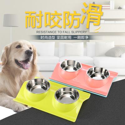 初花狗碗狗盆狗食盆猫狗饭盆宠物碗泰迪用品狗狗用品双碗慢食碗