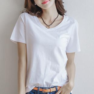 2018新款夏季短袖白色V领t恤女士宽松纯白打底衫棉质韩版上衣体恤