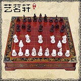 Antique three-dimensional Chinese chess board set wooden figure sculpture Terracotta Warriors table top with drawer large chess table