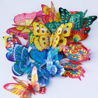 24PCS 3D Luminous Butterfly Fridge Magnet With Pin For Weddi