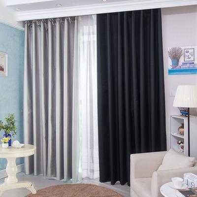 全遮光黑色窗帘布遮阳隔热防晒简约现代落地飘窗窗帘成品卧室客厅品牌资讯
