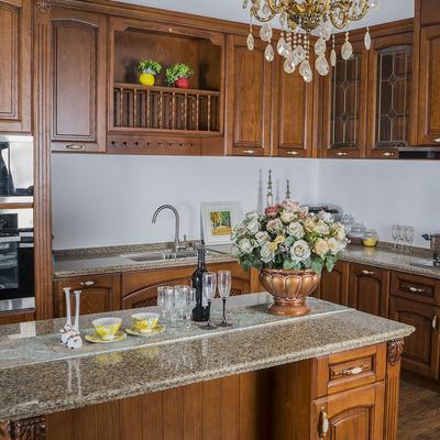 青岛锦梵定制家具 进口橡木樱桃木整体橱柜欧式古典厨房厨柜定做口碑如何