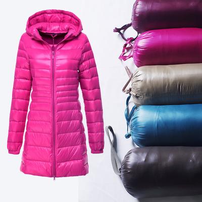 反季特卖轻便 冬季连帽羽绒服 大码轻薄款修身 中长款女外套 带帽