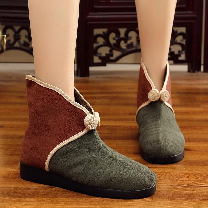 老北京布鞋女2017秋冬季新款女靴棉鞋短筒民族风中老年妈妈二棉鞋