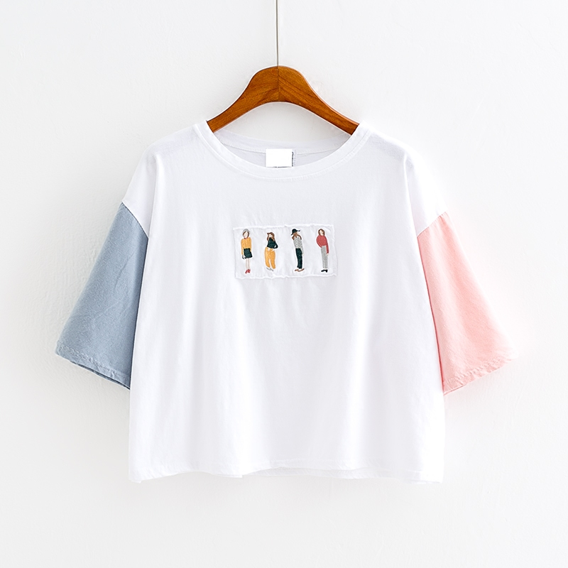 夏季韩版 四个人背后刺绣字拼接撞色袖宽松高腰纯棉短款半袖T恤女