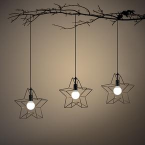创意个性吊灯五角星铁艺灯具咖啡厅吧台过道灯走廊灯餐厅吊灯单头
