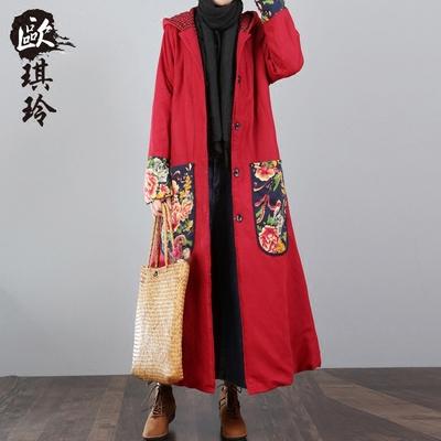 冬季加厚棉服外套女文艺中长款大码连帽保暖大口袋民族风棉麻棉衣