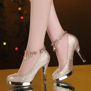 春款防水台圆头高跟鞋婚鞋红色单鞋女性感金色粗跟女鞋厚底新娘鞋
